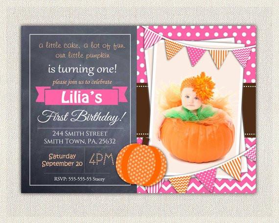 Pumpkin First Birthday Invitations  Girls 1st Birthday Invitation Pink Chalkboard Little