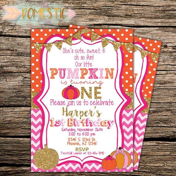 Pumpkin First Birthday Invitations  Our Little Pumpkin Birthday Invitation Girls First Birthday