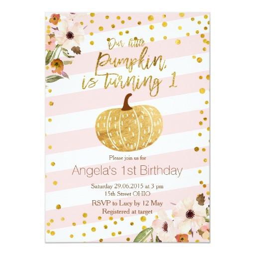 Pumpkin First Birthday Invitations  Pink Gold Pumpkin First Birthday Invitation