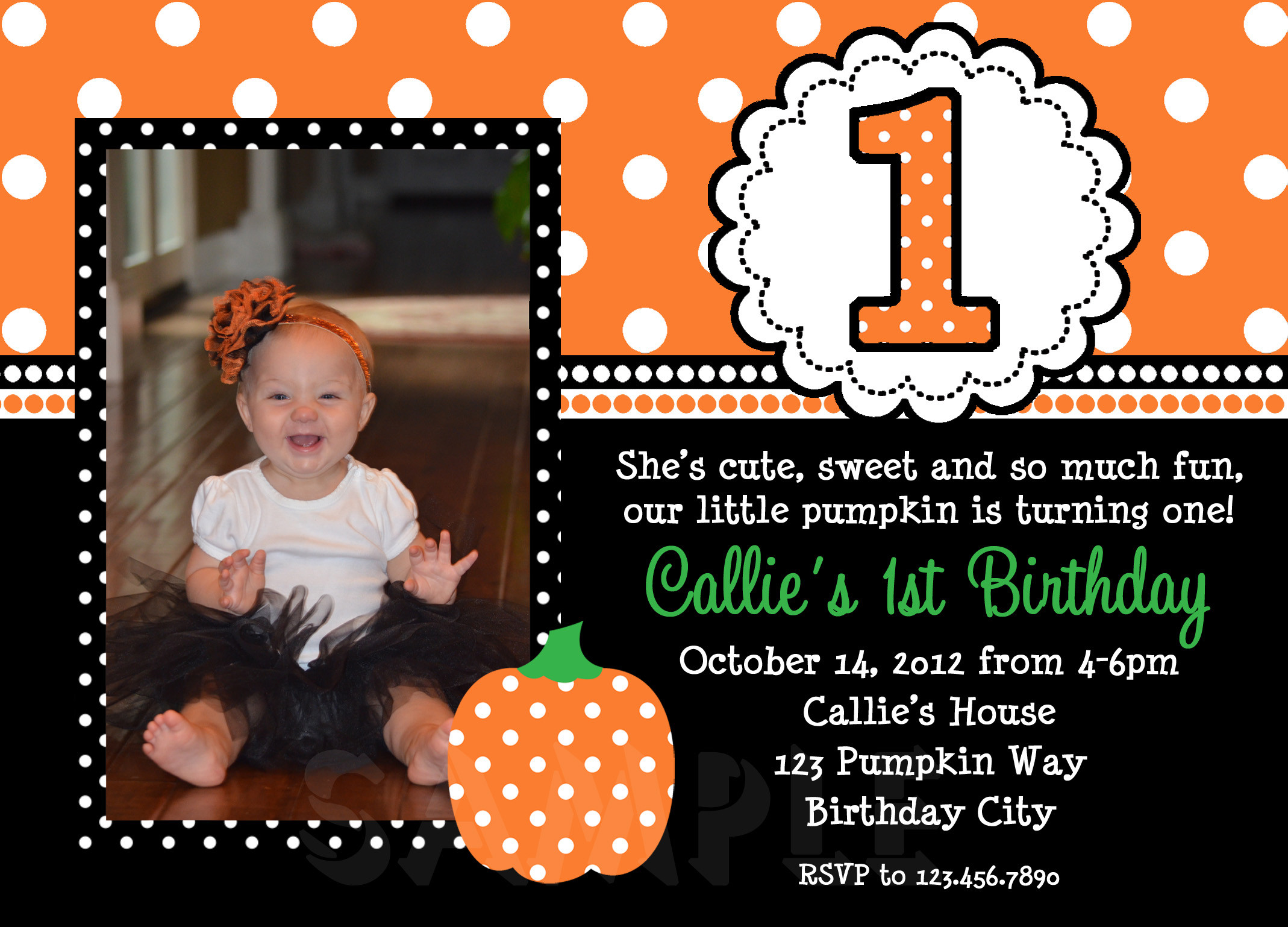 Pumpkin First Birthday Invitations  Printable Birthday Invitations Girls Pumpkin Fall Party