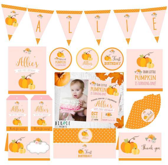 Pumpkin First Birthday Invitations  PUMPKIN FIRST BIRTHDAY Invitation and by littlebir prints