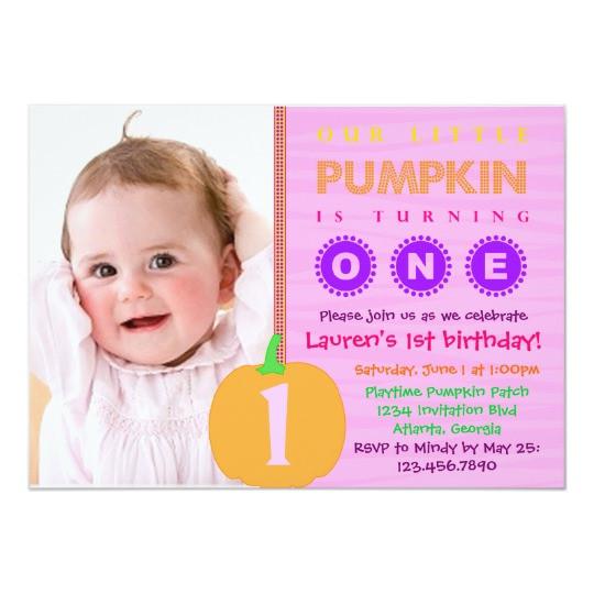 Pumpkin First Birthday Invitations  Pumpkin First Birthday Invitation