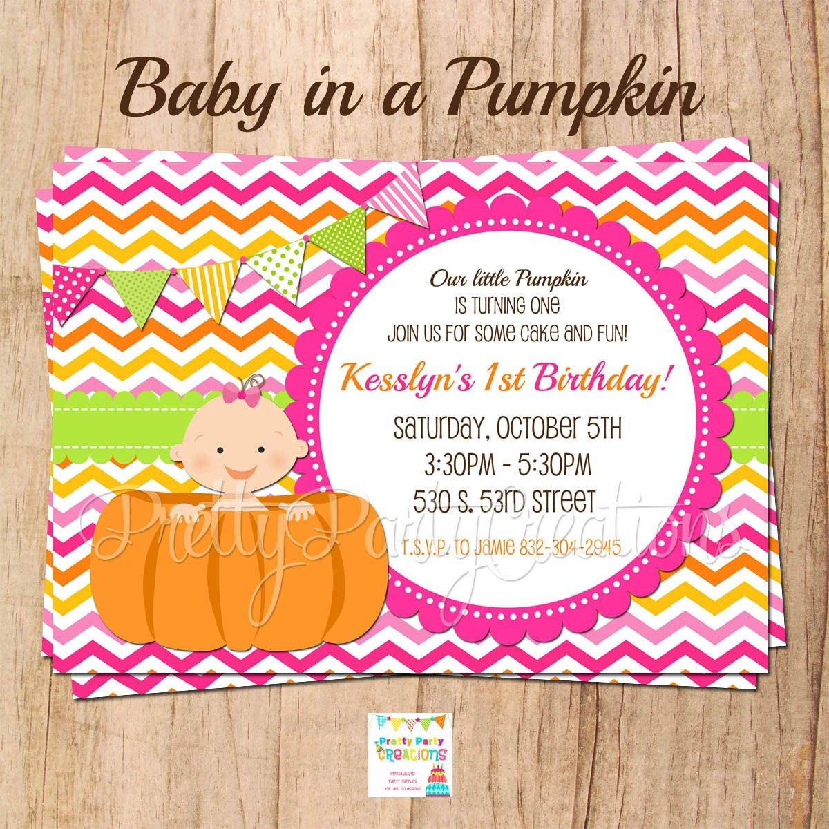 Pumpkin First Birthday Invitations  BABY in PUMPKIN 1st birthday or baby shower invitation with