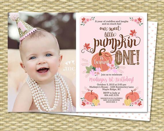 Pumpkin First Birthday Invitations  Our Little Pumpkin Birthday Invitation First Birthday