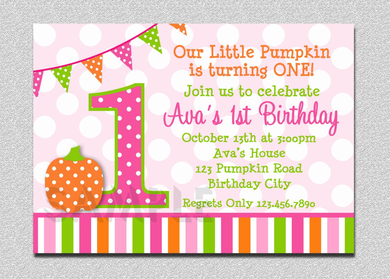 Pumpkin First Birthday Invitations  Pumpkin Birthday Invitation Pumpkin Invitation Pumpkin