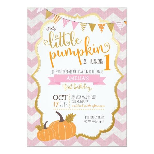 Pumpkin First Birthday Invitations  A Little Pumpkin First Birthday Invitation
