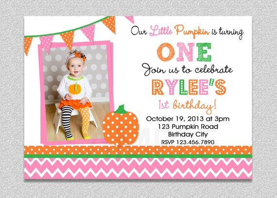 Pumpkin First Birthday Invitations  Pink and Orange Pumpkin Birthday Invitation Pumpkin 1st