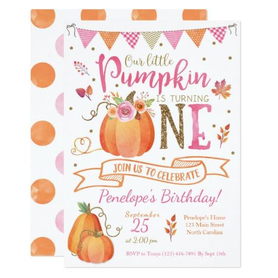Pumpkin First Birthday Invitations  Pumpkin First Birthday Invitation Autumn Fall Card