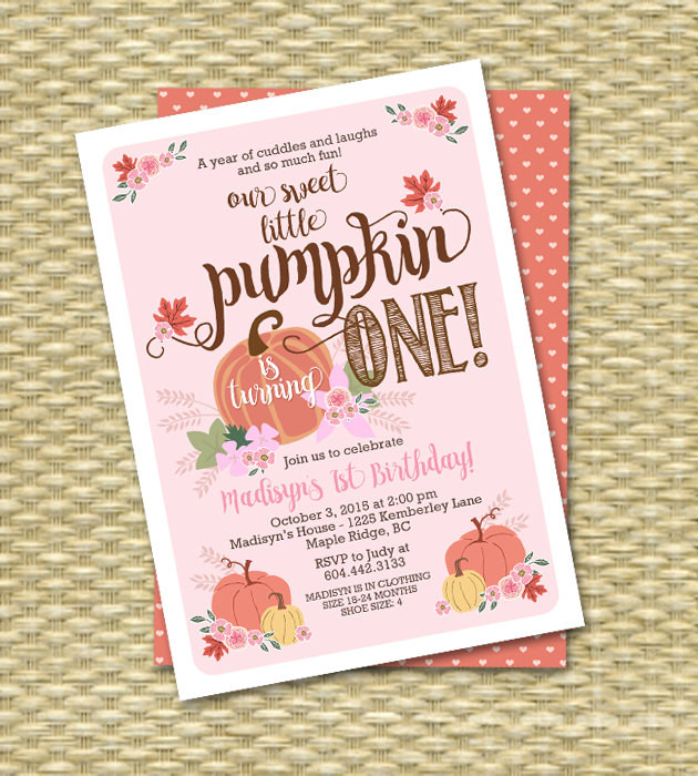 Pumpkin First Birthday Invitations  Little Pumpkin Birthday Invitation First Birthday Invitation
