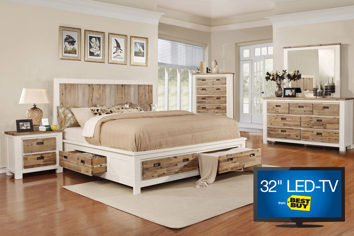 """Best ideas about Queen Bedroom Sets . Save or Pin Western Queen Storage Bedroom Set with 32"""" TV at Gardner White Now."""