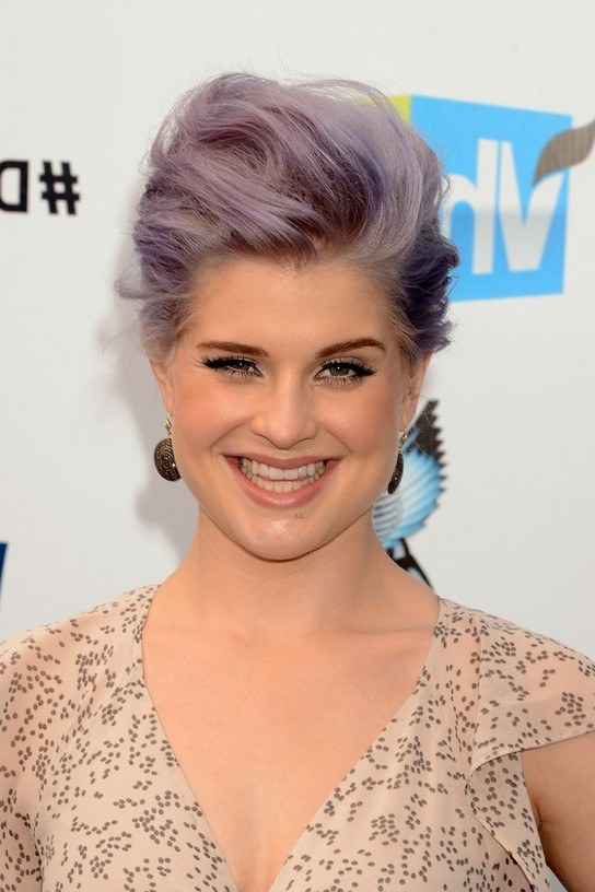 Quiff Hairstyle Female  Grey & Lavender Tousled Quiff Hairstyle – Kelly Osbourne