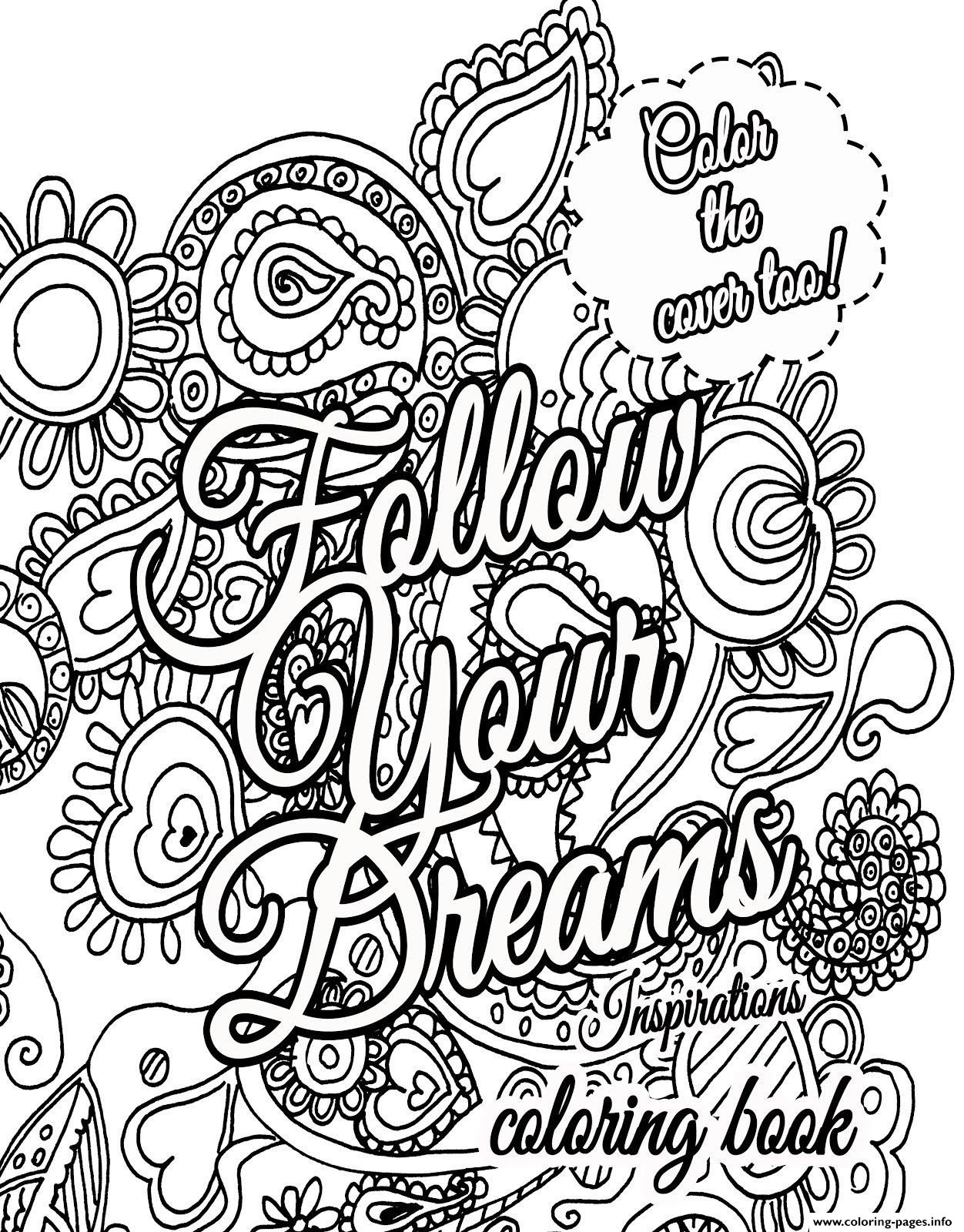 Quote Coloring Pages For Adults  Free Printable Inspirational Quotes Coloring Pages The