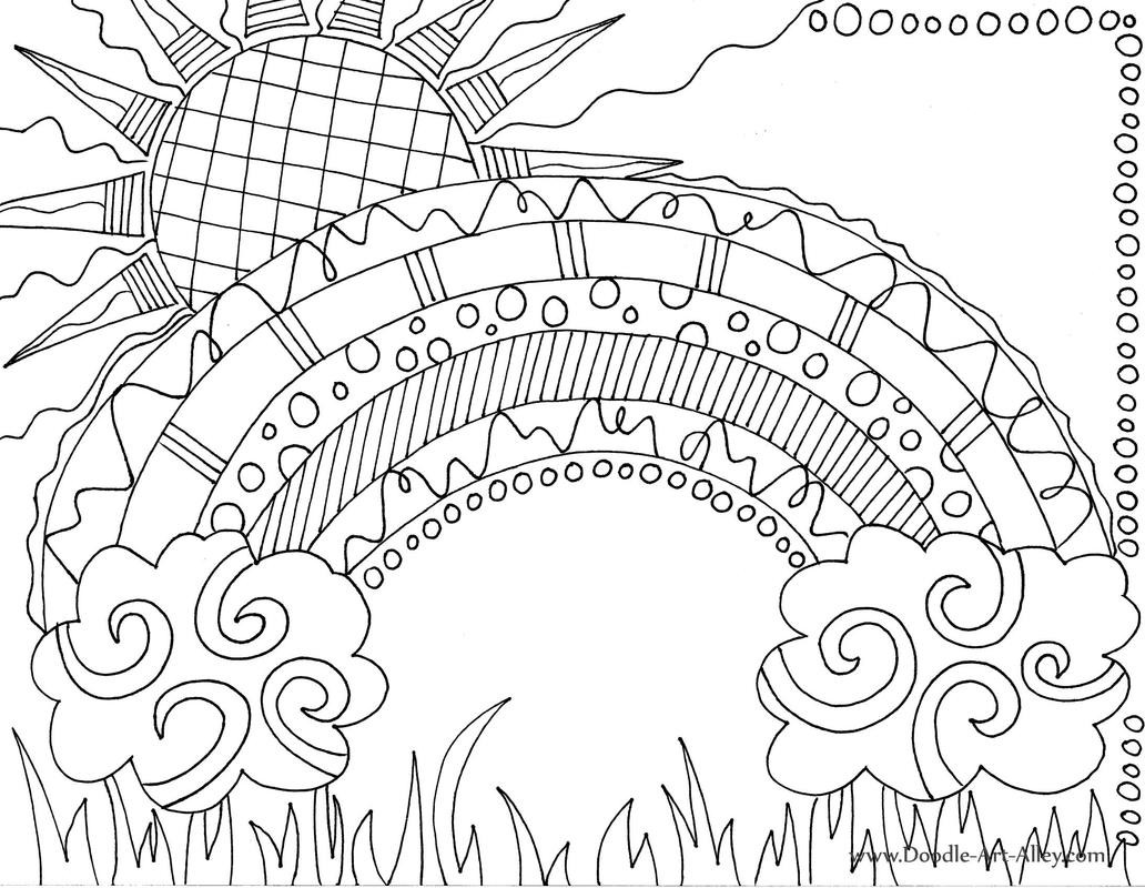 Rainbow Coloring Pages For Adults  Nature Coloring pages Doodle Art Alley