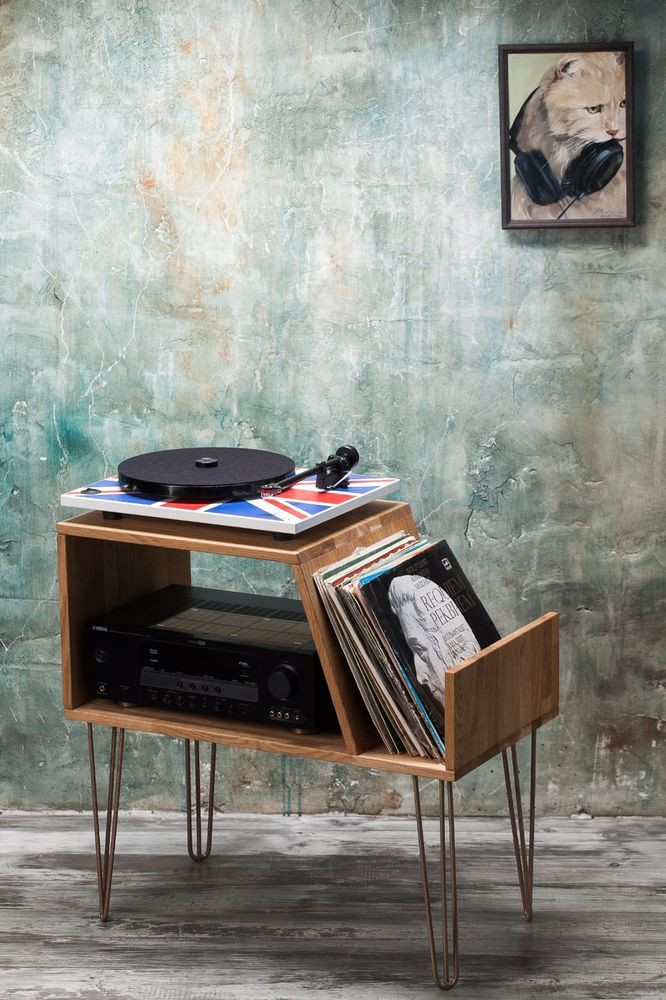 Best ideas about Record Player Stand DIY . Save or Pin Record player stand Record Player Cabinet Media Console Now.
