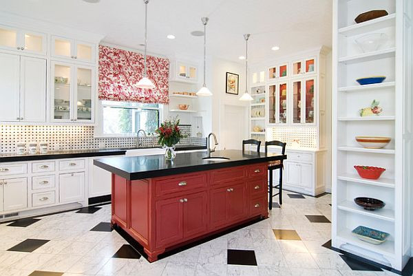 Best ideas about Red Black And White Kitchen Decor . Save or Pin traditional dark red kitchen island Decoist Now.