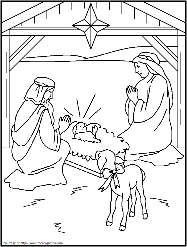 Religious Christmas Coloring Pages For Kids Printable  Sunday School Christmas Coloring Pages