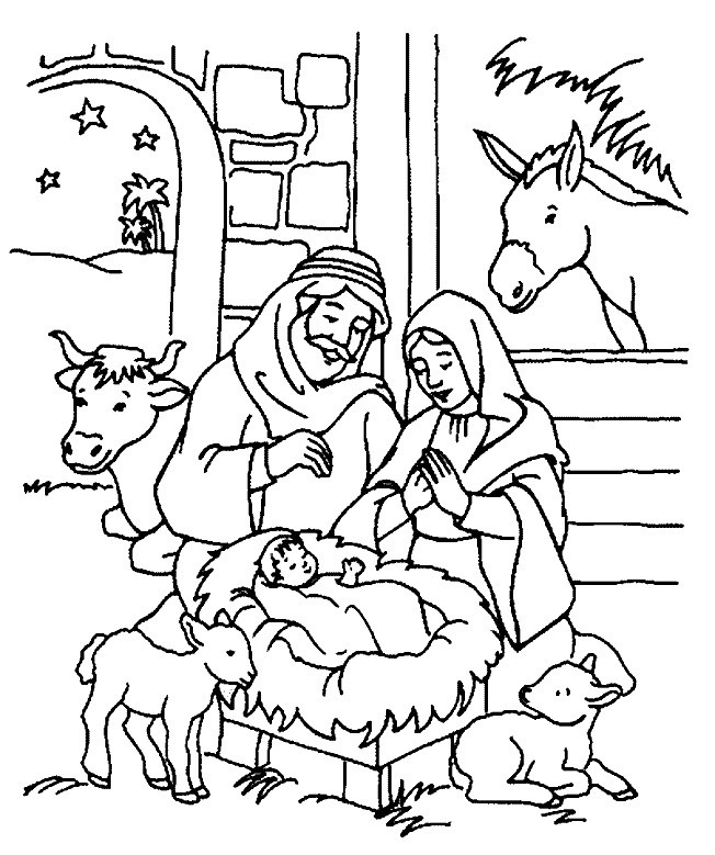 Religious Christmas Coloring Pages For Kids Printable  Christmas Coloring Page For Kids