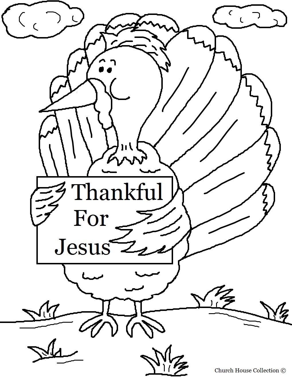 Religious Thanksgiving Coloring Pages For Kids  Church House Collection Blog Turkey Holding Sign