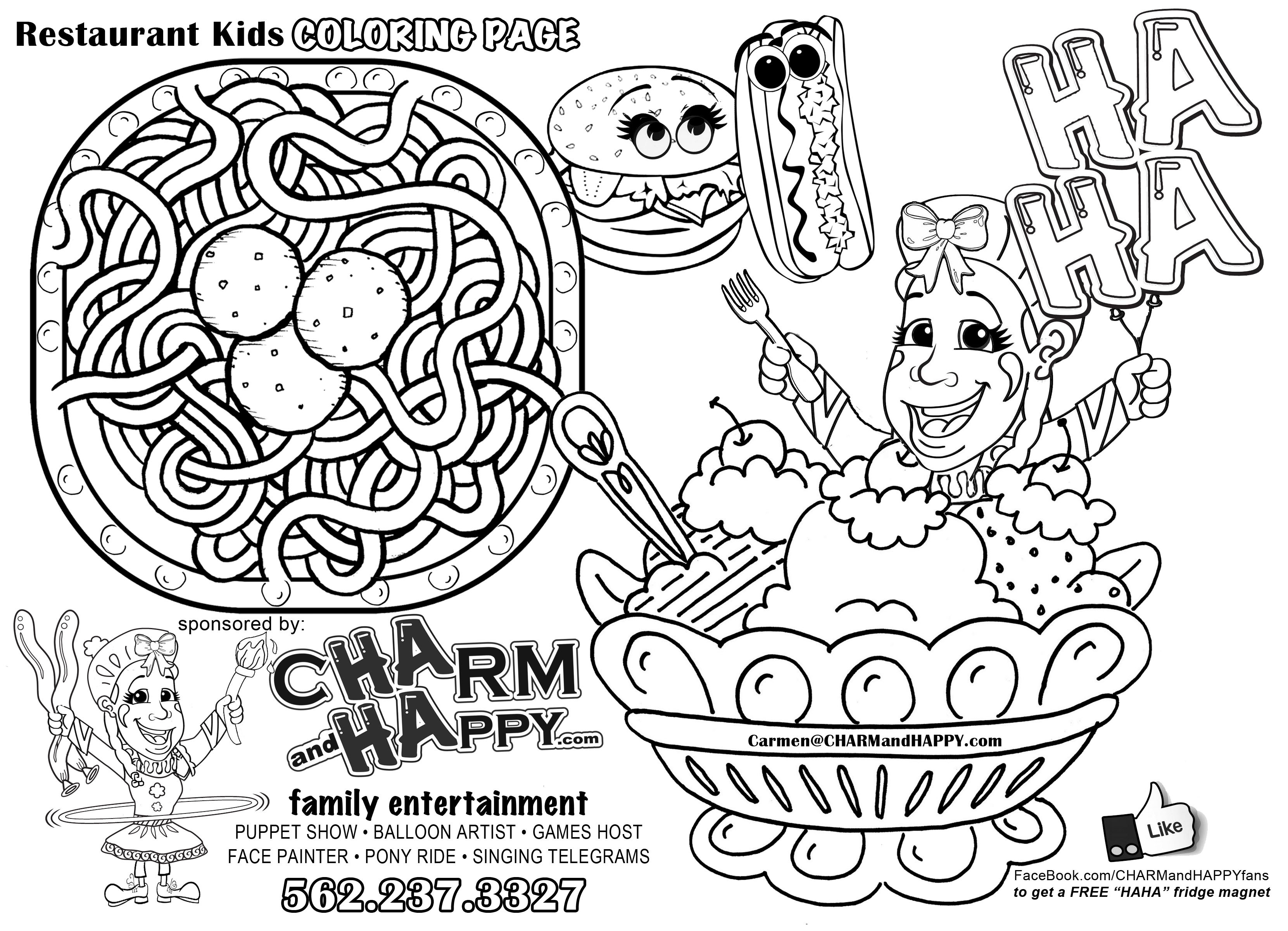 Restaurant Coloring Pages For Kids  DinnerWithaTwister Family Restaurant entertainment