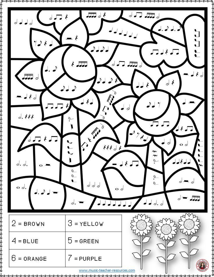 Rhythm Coloring Sheets For Kids  Music Activities FALL Color by Music Notes and Rests