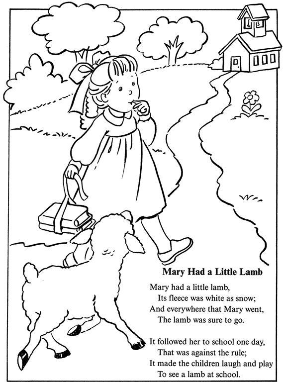 Rhythm Coloring Sheets For Kids  mary had a little lamb nursery rhyme coloring sheet