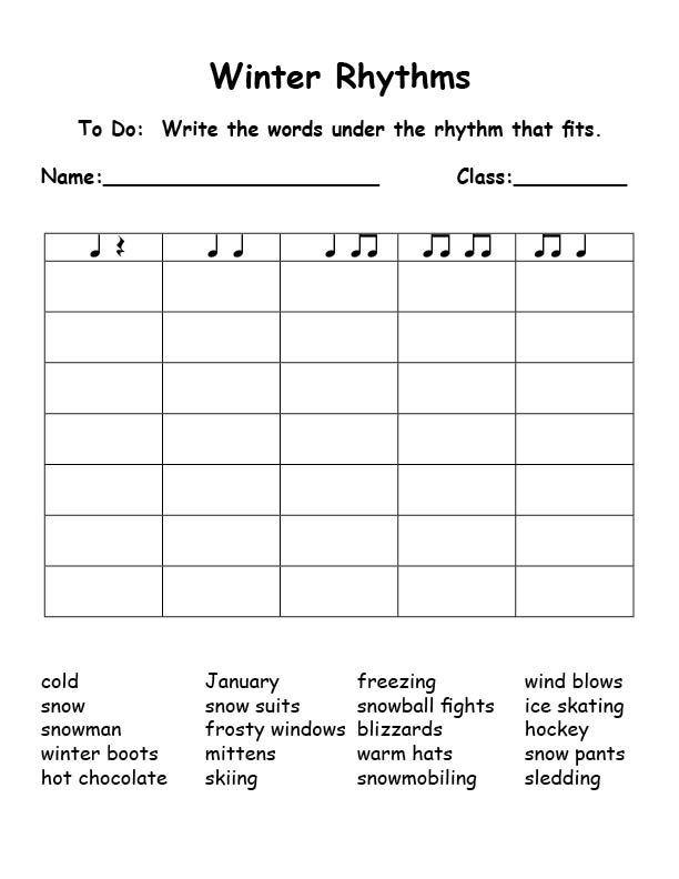Rhythm Coloring Sheets For Kids  Winter rhythms 612×792 pixels