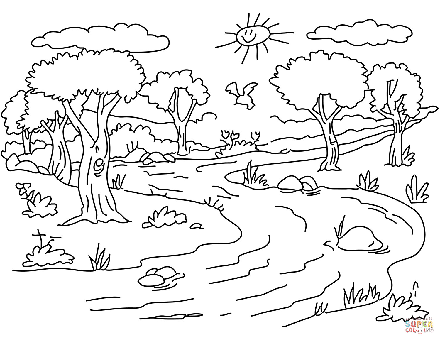 Best ideas about River Coloring Pages . Save or Pin River Landscape coloring page Now.