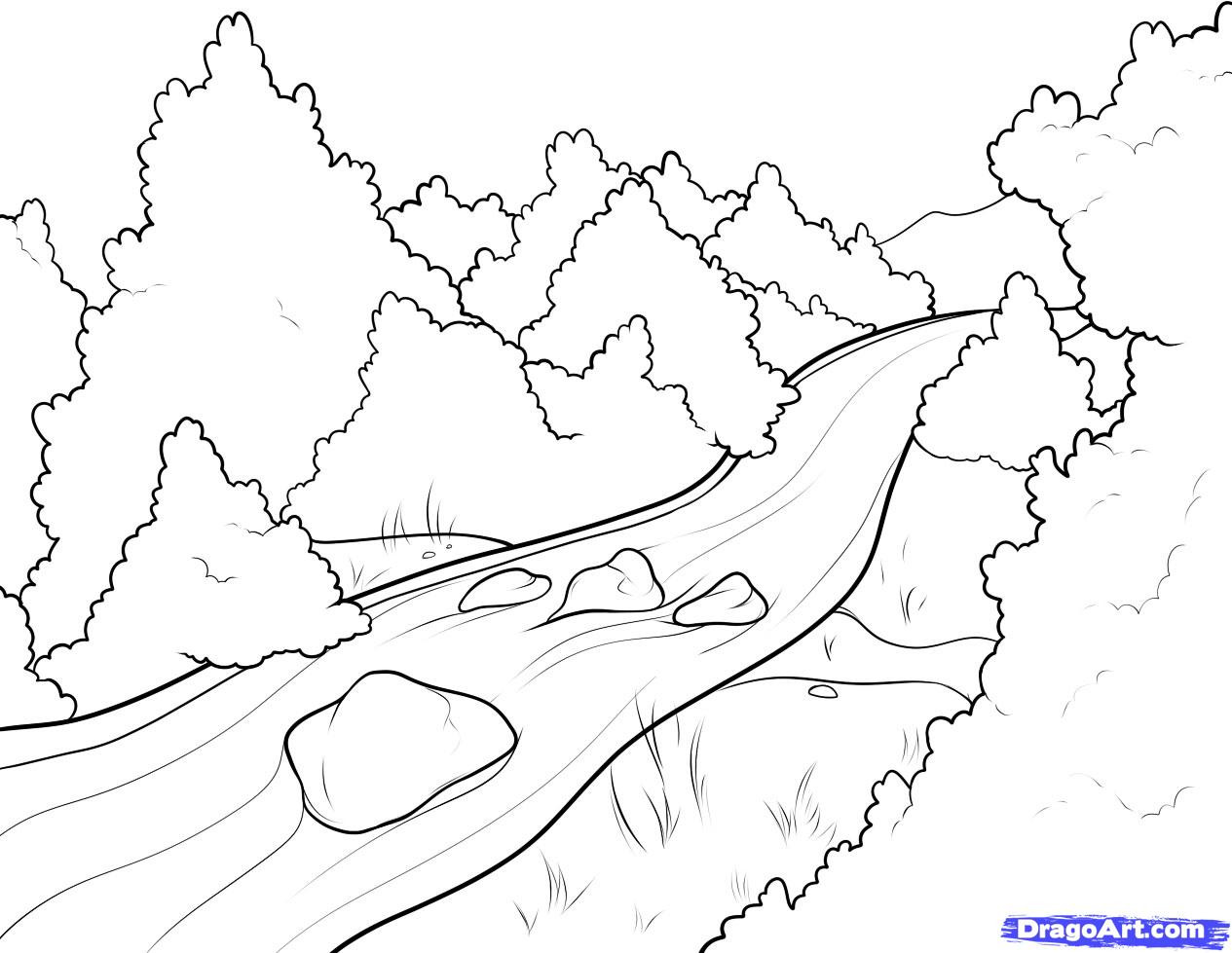Best ideas about River Coloring Pages . Save or Pin How to Draw a River Step by Step Landscapes Landmarks Now.
