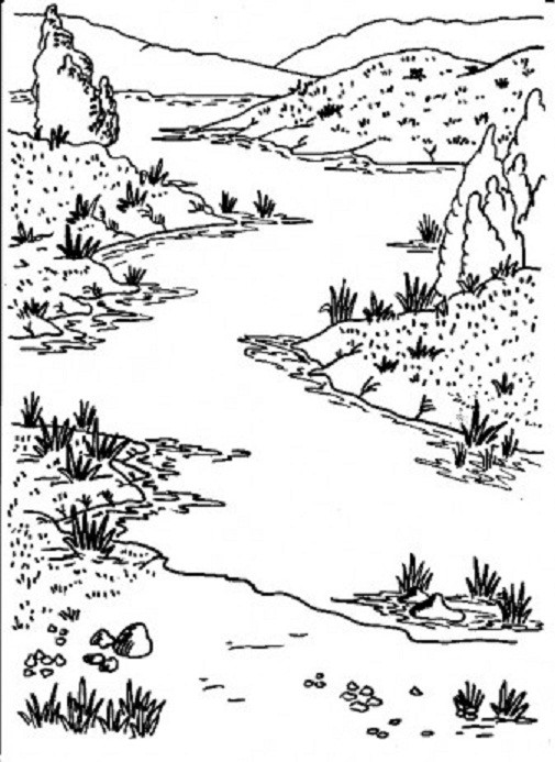 Best ideas about River Coloring Pages . Save or Pin Landscape Now.
