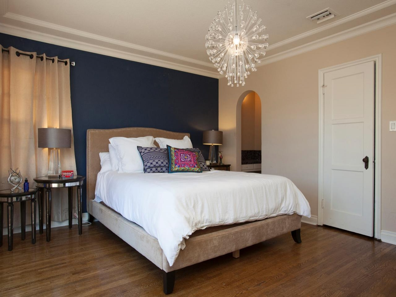 Best ideas about Rooms With Accent Walls . Save or Pin Dark blue modern bedroom colors blue for accent walls Now.