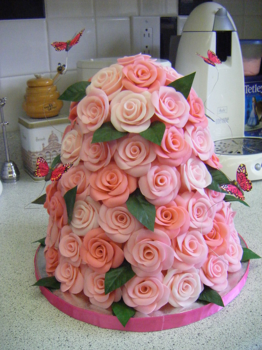 Best ideas about Roses Birthday Cake . Save or Pin Pink Rose Tower & Butterflies Birthday Cake CakeCentral Now.