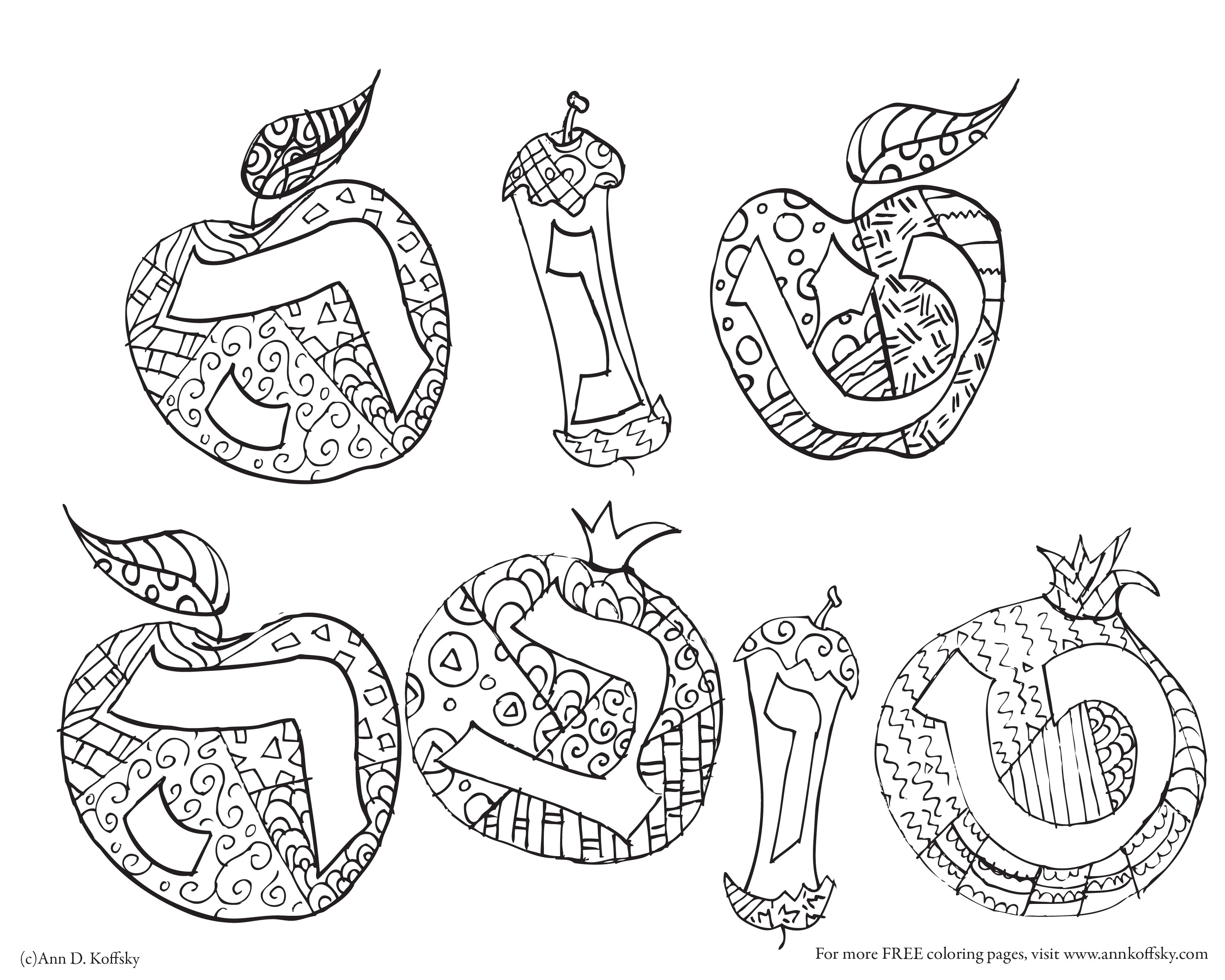 Rosh Hashanah Coloring Pages  Coloring Apples for Rosh Hashonah