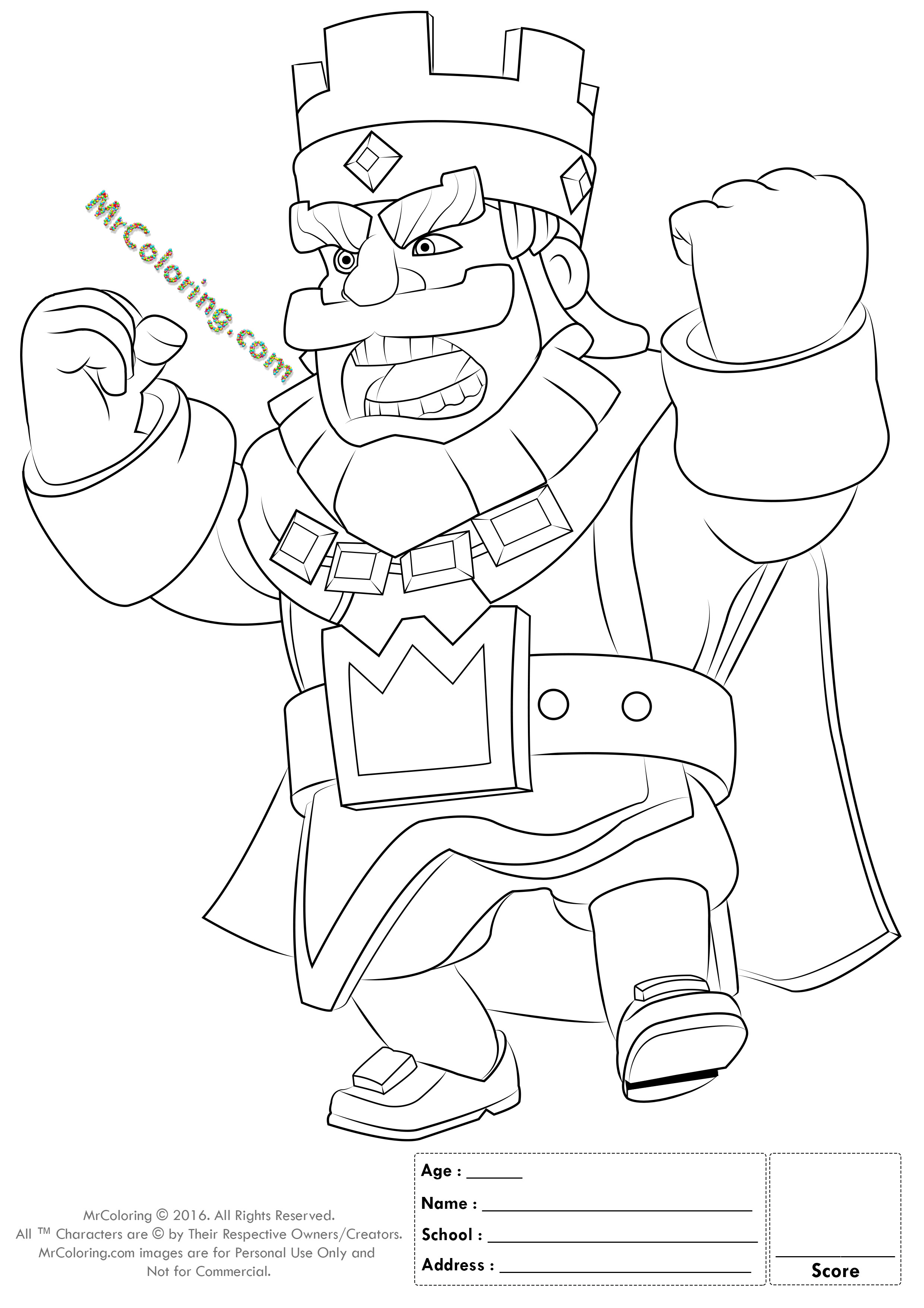 Royal Coloring Pages  Printable Red King Clash Royale line Coloring Pages 1