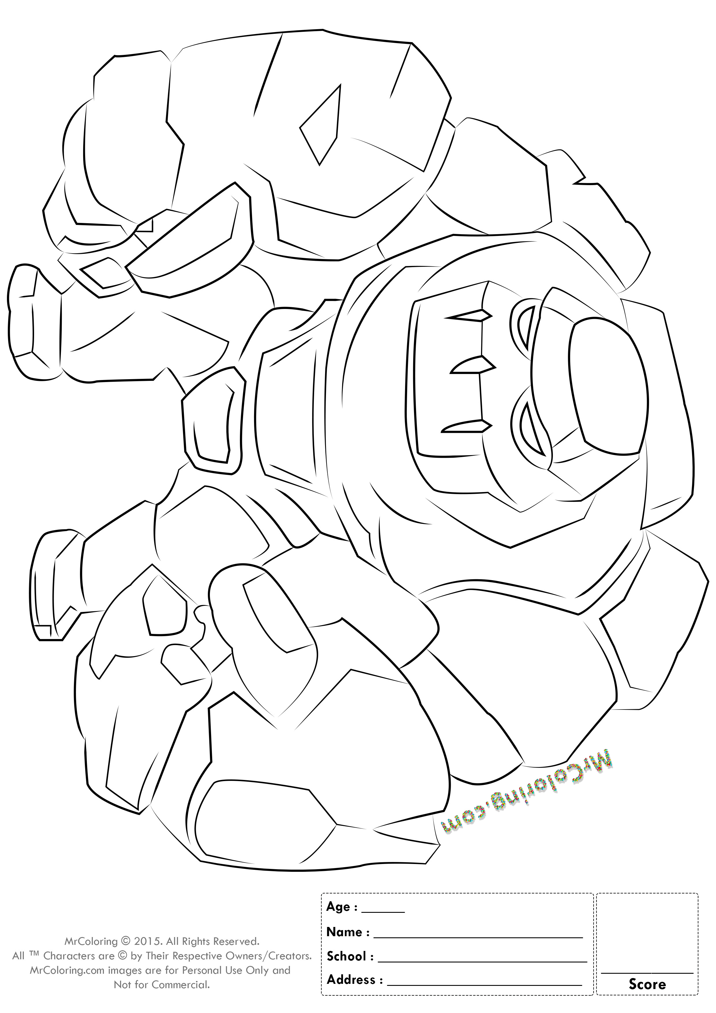 Royal Coloring Pages  Free Printable Clash of Clans Golem Coloring Pages 1