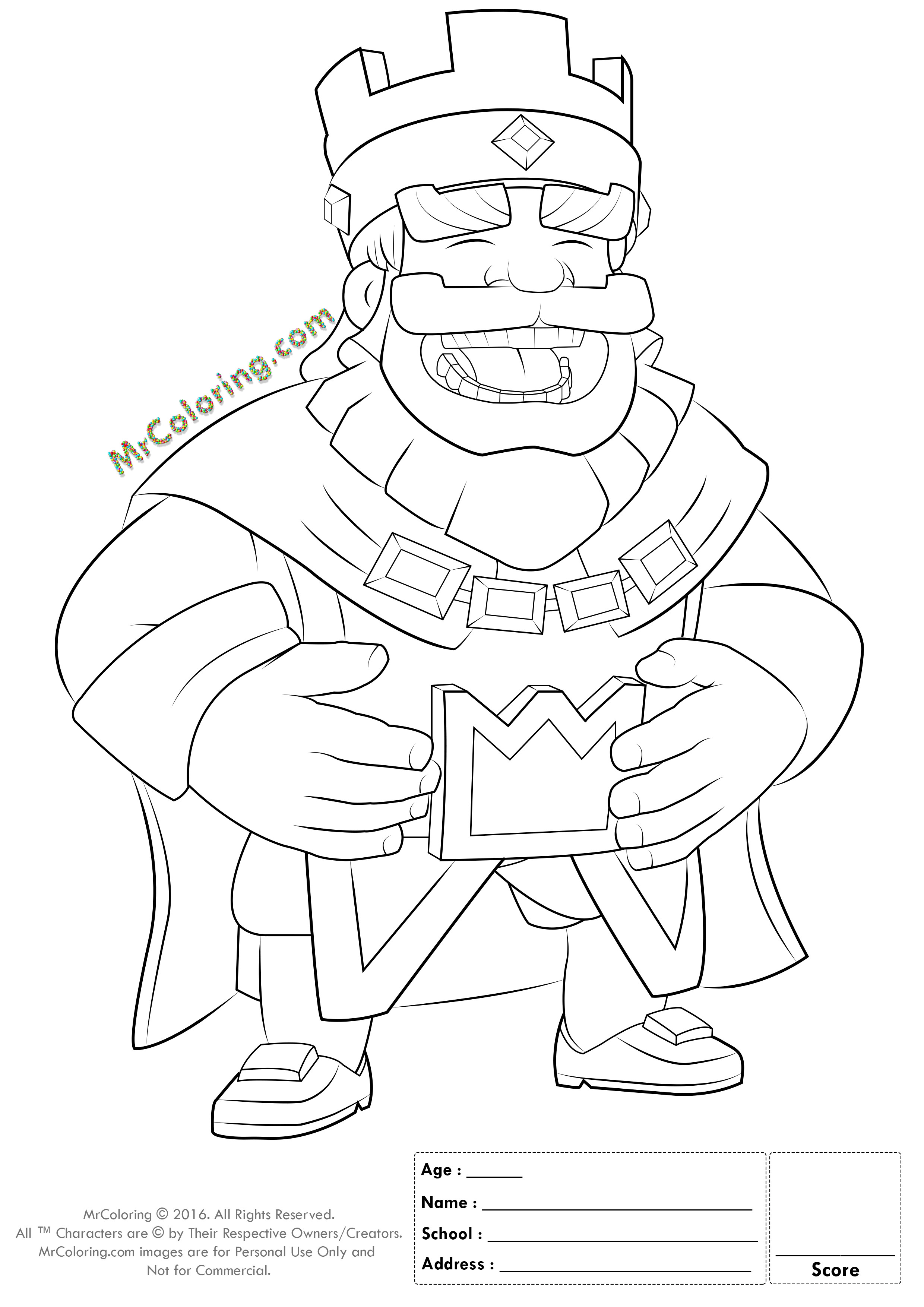 Royal Coloring Pages  Printable Blue King Clash Royale line Coloring Pages 1