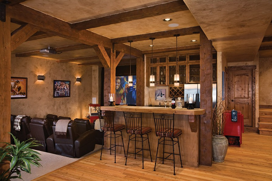Best ideas about Rustic Basement Ideas . Save or Pin Basement Bar Ideas with Black and White Theme Now.