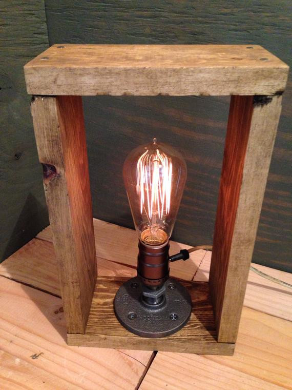 Best ideas about Rustic Desk Lamp . Save or Pin Edison lamp Rustic decor Unique Table lamp Industrial Now.