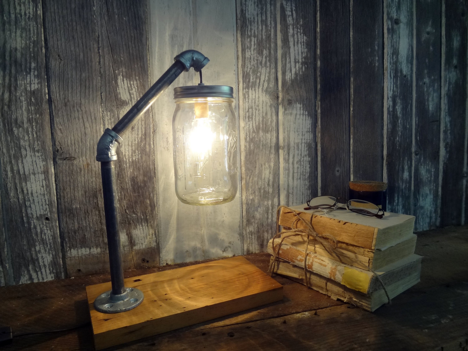 Best ideas about Rustic Desk Lamp . Save or Pin Mason Jar Desk Lamp Industrial Lamp Mason Jar Light Now.
