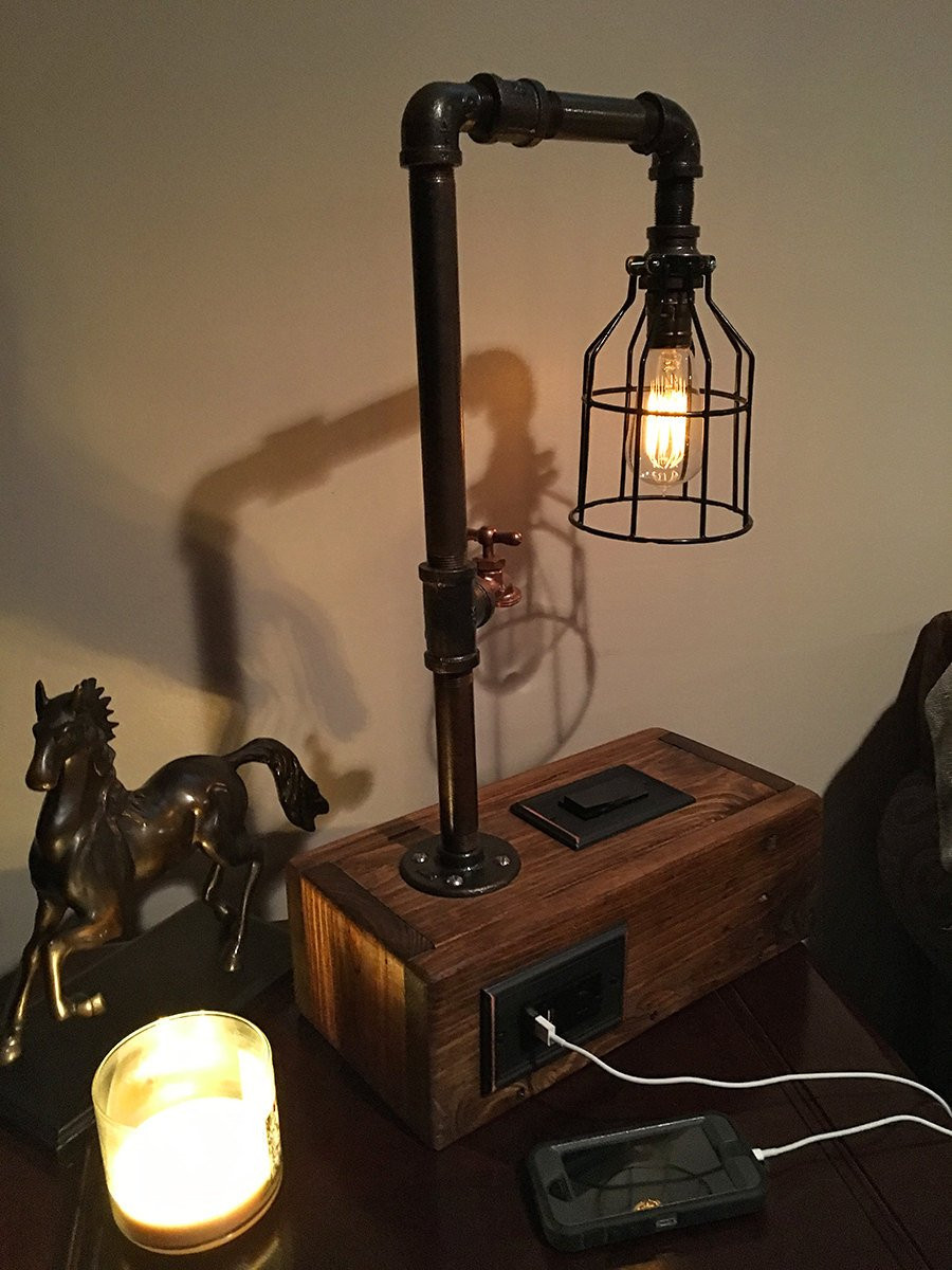 Best ideas about Rustic Desk Lamp . Save or Pin Rustic Industrial Table Lamp w 2 USB Chargers and Outlet Now.