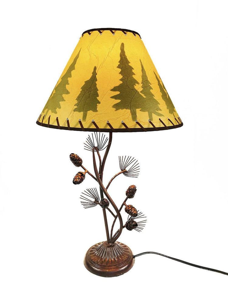 Best ideas about Rustic Desk Lamp . Save or Pin Western Metal Pine Cone Desk Table Lamp Rustic Country Now.