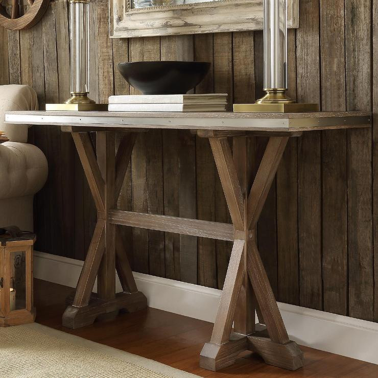 Best ideas about Rustic Entryway Table . Save or Pin Abbott Rustic Stainless Steel Strap Oak Trestle Brown Now.