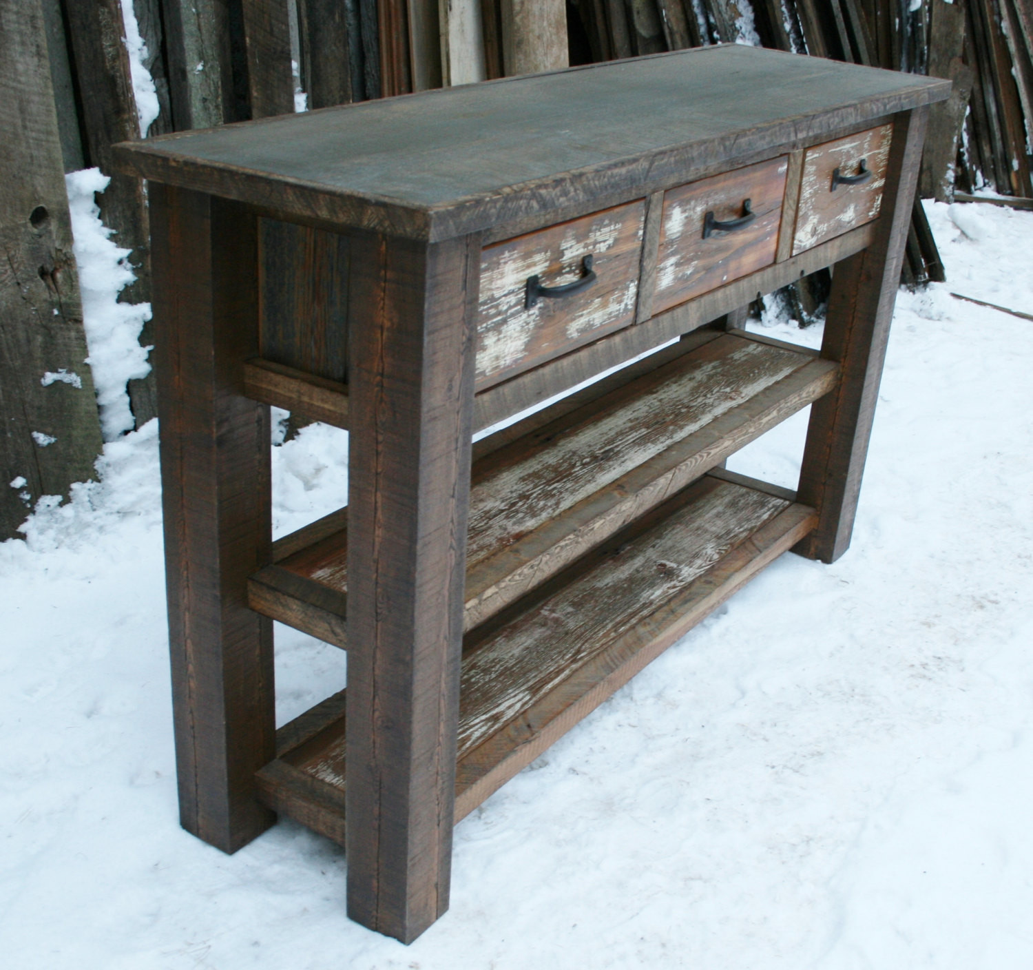 Best ideas about Rustic Entryway Table . Save or Pin Reclaimed Rustic Console Entry Table by EchoPeakDesign on Etsy Now.