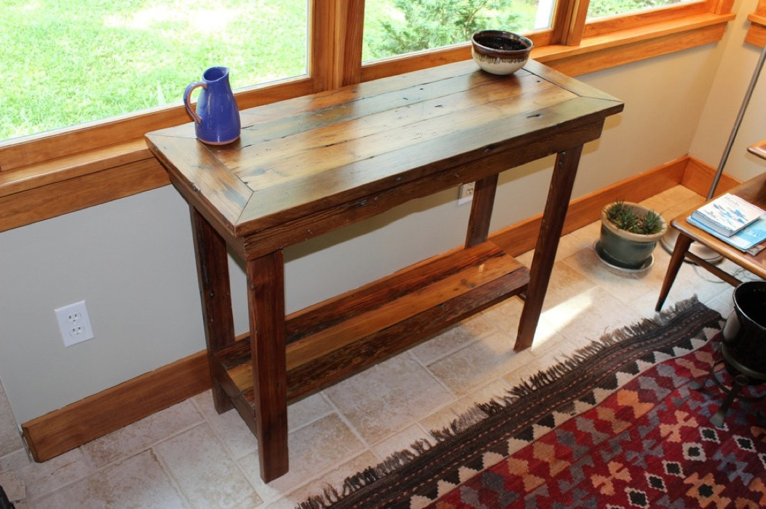 Best ideas about Rustic Entryway Table . Save or Pin Rustic Reclaimed Barnwood Entryway Table Side Table Console Now.