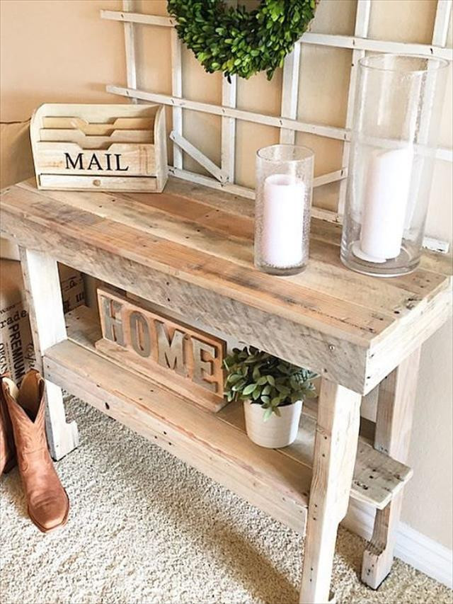 Best ideas about Rustic Entryway Table . Save or Pin Rustic Pallet Entryway Table Now.
