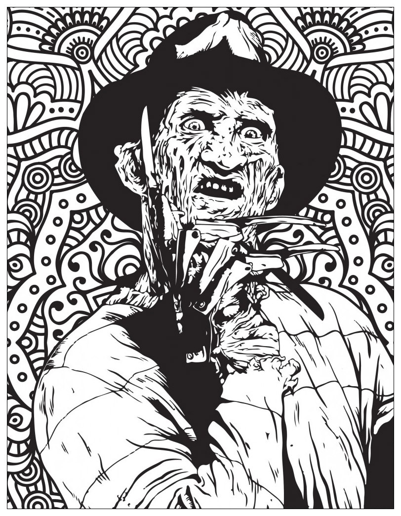 Scary Halloween Coloring Pages For Adults  Horror freddy krueger Halloween Adult Coloring Pages