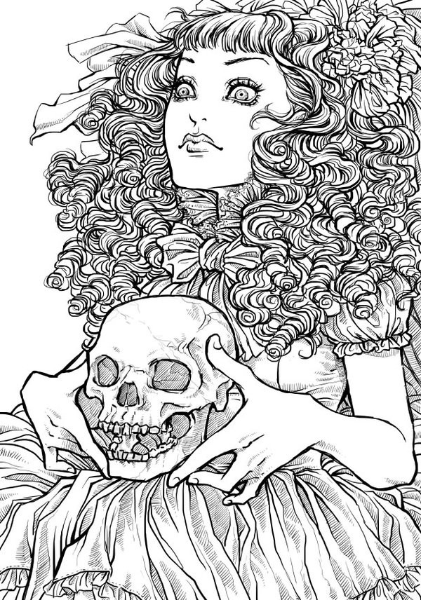 Scary Halloween Coloring Pages For Adults  Free Printable Halloween Coloring Pages for Adults Best