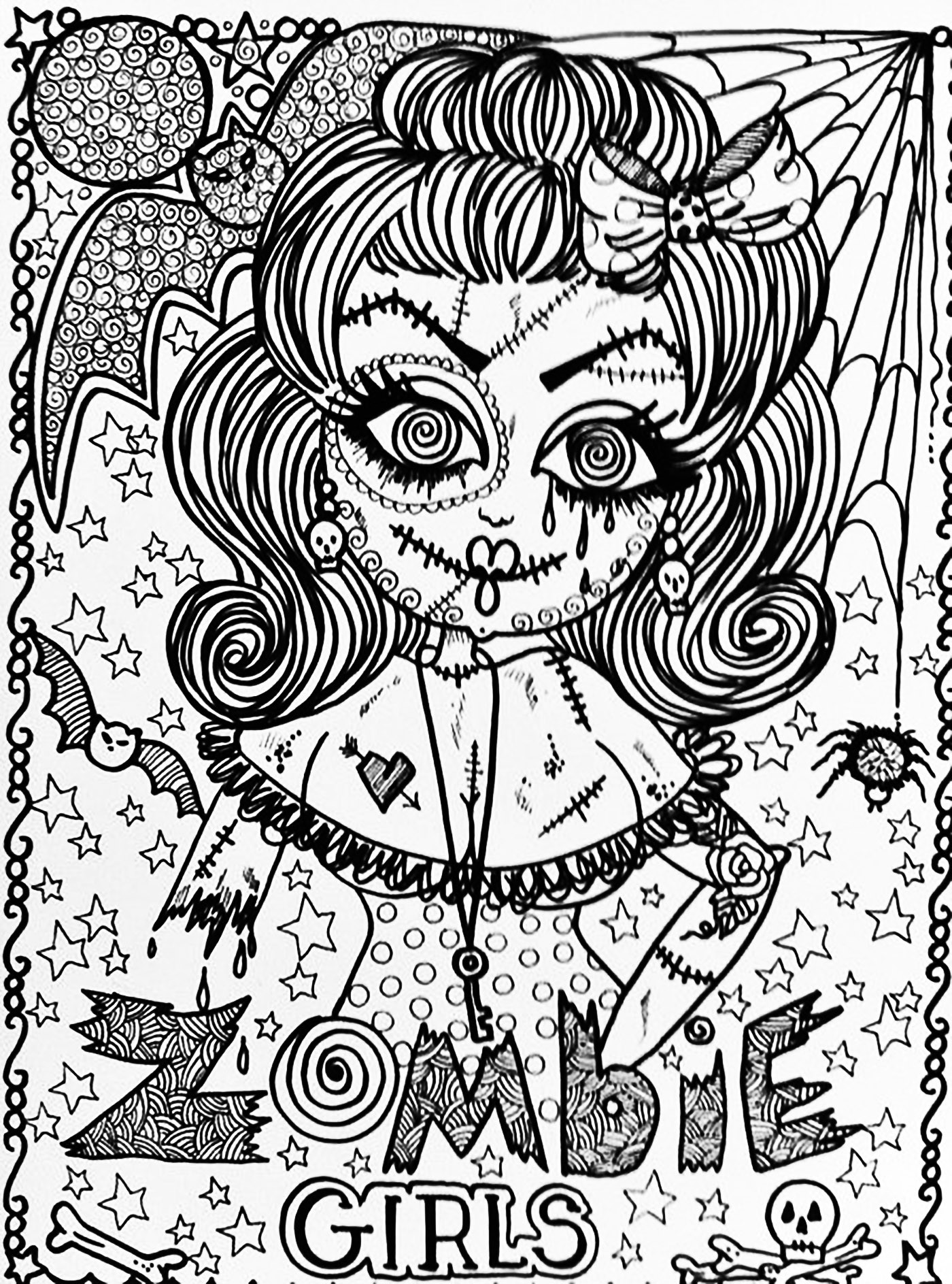 Scary Halloween Coloring Pages For Adults  Halloween zombie girl Halloween Adult Coloring Pages