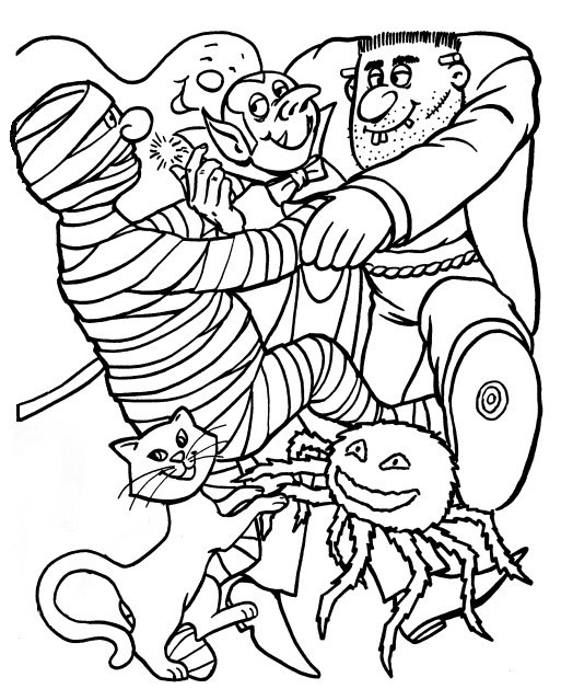 Scary Halloween Coloring Pages For Adults  Adults Halloween Coloring Pages