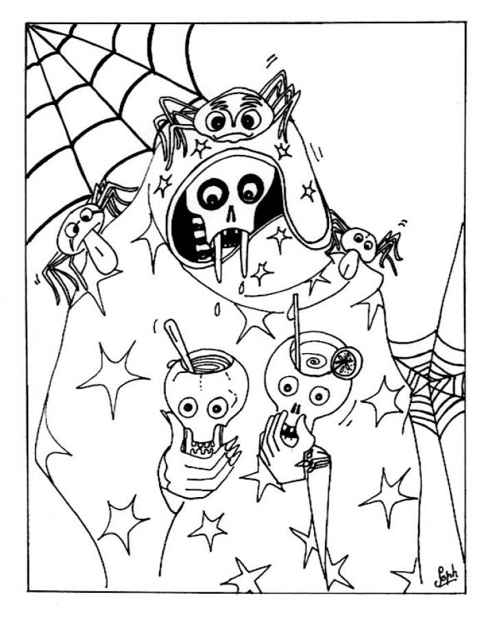 Scary Halloween Coloring Pages For Adults  Free Printable Halloween Coloring Pages For Kids