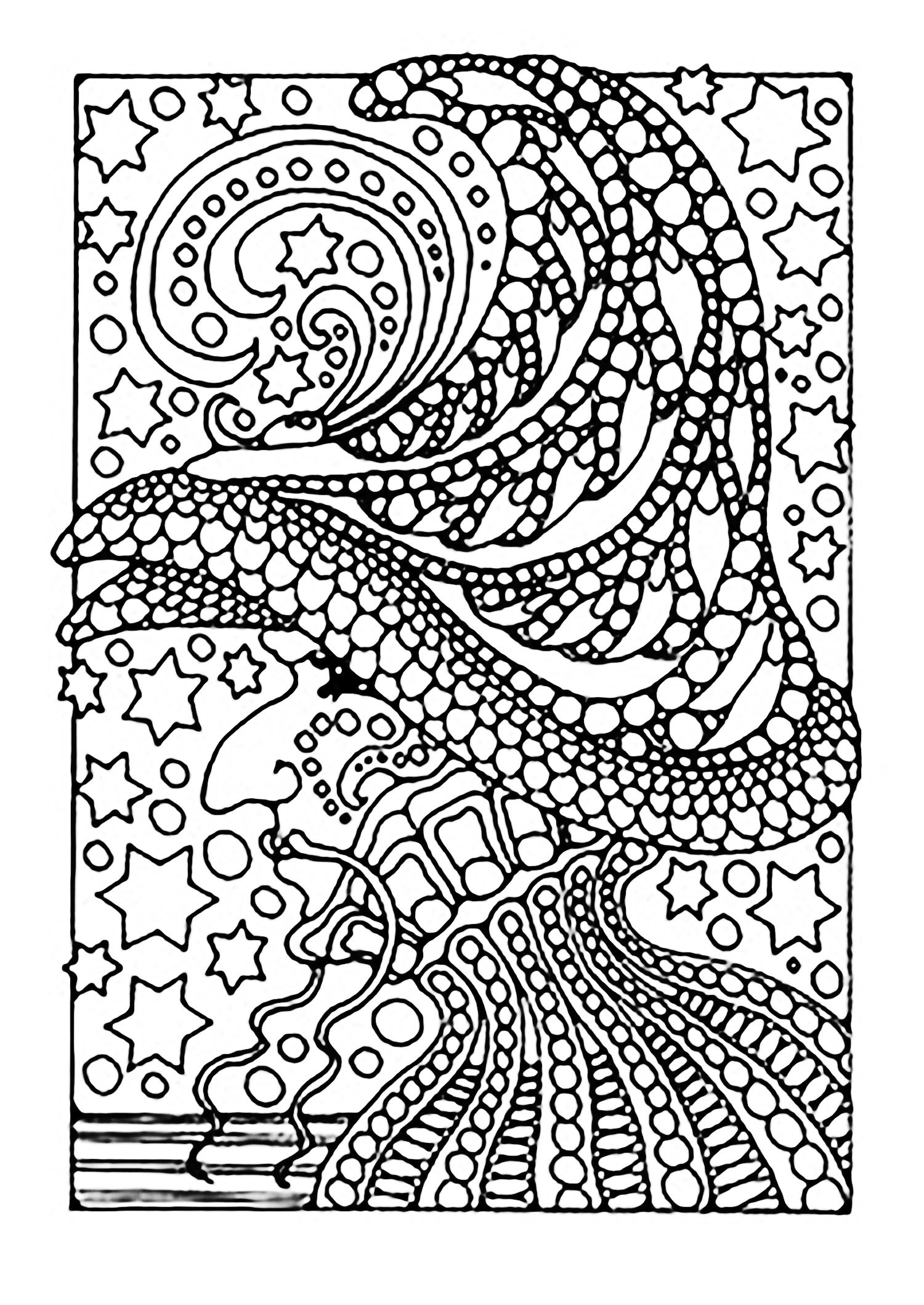 Scary Halloween Coloring Pages For Adults  Halloween witch and stars Halloween Adult Coloring Pages